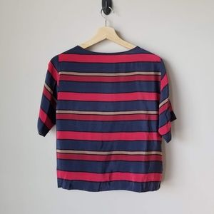 Maje Henzada Silk Striped Blouse Tee Red Blue Sz S